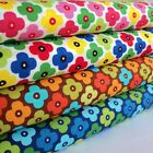 CARNIVAL 60S DAISY -  COTTON FABRIC per m  FASHION QUILTING FUNKY RETRO KIDS
