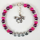 New Girls Personalised Horse Pony Equestrian Riding Charm Bracelet Jewelry Gift