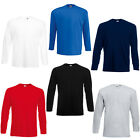New Fruit of the Loom Mens Value Cotton Long Sleeve T Shirt in 6 Colours S - XXL