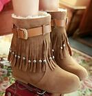 Womens Faux Suede Beaded Tassel Buckle Strap Flat Ankle Boots Plus Size #88