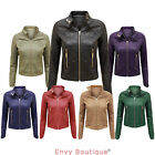 NEW LADIES FAUX LEATHER PU QUILTED PVC BIKER ZIPPED JACKET COAT SIZE 8 10 12 14