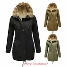 LADIES WOMENS THICKEN WARM FAUX FUR HOODED OVERCOAT PARKA JACKET COAT SIZE 8-16