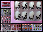24x FASHION FALSE FULL FRENCH NAILS TIPS ANIMAL ZEBRA LEOPARD PRINT METALLIC UK