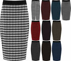 New Plus Size Womens Dogtooth Check Back Slit Pencil Skirt Ladies Stretch 12- 26