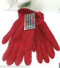ONE SIZE LADIES SNOW SOFT MAGIC GLOVES WITH FLUFFY CUFF BLUE PINK RED