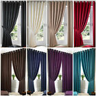 HEAVY JACQUARD Eyelet Ready Made Curtain Ring top Lined Curtains
