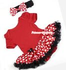 Toddler Infant Hot Red Romper Baby Dress Jumpsuit Minnie Dots Skirt NB-12Month