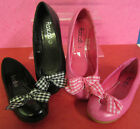 Rascals J4079 - Black or Pink Ballerina Shoes With Fabric Bow - SALE