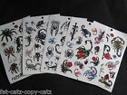 5 SHEETS BOYS SCARY SCORPION INSECT SPIDER TEMPORARY TATTOOS PARTY LOOT BAG UK