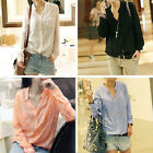 Women S M L V Neck Long Sleeve Chiffon Stripes Lapel Tops Blouse T-Shirt Shirt J