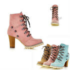 New Women's Sexy Ankle High Heel Boots Lace Up Fashion Shoes AU All Size Y782