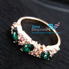 18k rose gold GF simulated diamond emerald amethyst solid engagement ring