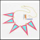 New Fashion Colorful Triangle Mental Oil-spot Glaze  Lady Womens Necklace