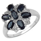 STERLING SILVER SAPPHIRE CLUSTER DRESS ENGAGEMENT RING SIZE R MOTHERS DAY GIFT