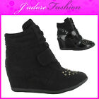 NEW LADIES HI TOP VELCRO LACE UP STUD WEDGE  ANKLE SNEAKERS SHOES SIZES UK 3-8