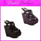 NEW LADIES PLATFORM HIGH HEEL WEDGE SEQUIN SKIN STRAPPY SANDALS SIZES UK 3-8