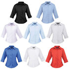 New PREMIER Womens Ladies 3/4 Sleeve Poplin Blouse Shirt in 8 Colours Size 6-26