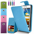 LEATHER FLIP CASE COVER & SCREEN GUARD & STYLUS PEN FOR SAMSUNG GALAXY S2 I9100