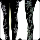 PLUS SIZE FULL-LENGTH LEGGINGS EMBELLISHED RHINESTONE & STUD SILVER FLORAL