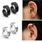 Pair Stainless Steel Round Hoop Ear Clip Earring Punk Fashion Men Womens Jewelry