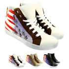 WOMENS USA TRAINER HIGH TOP LACE UP FLAT WALKING TRAINERS LADIES NEW 3-8