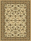 Ivory Beige European Bordered Carpet All-Over Floral Traditional Area Rug