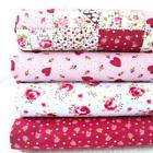 COUNTRY FLORAL PATCHWORK  - MIX AND MATCH PINK RED ROSES DOTS POLY COTTON FABRIC