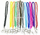Multi color Crystal Seed Beaded Necklace LANYARD with Keychain for ID Badge