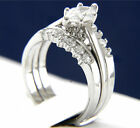 New Stainless Steel 0.95 CT Solitaire CZ Engagement Wedding Band Ring Set