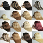 "15 Colors 14""-30"" Clips in Real Human Hair Extensions 7pcs Straight Hairs THIN"