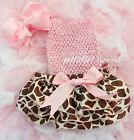 Newborn Baby Giraffe Satin Bloomers Light Pink Tube Top Bow Headband 3pc NB-24M
