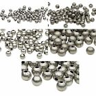 100 Antique Silver Finished Steel Metal Round Spacer Accent Beads Small -  Big