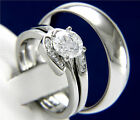 New 3 PCS Women's Engagement Stainless Steel Men's Wedding Bridal Band Ring Set