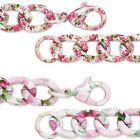 Big and Chunky Flower Pattern Twisted Curb Chain Bracelet With Pink Green White