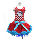 Girls Polka Dots Red Blue Pettiskirt Thing 2 Tank Top Party Dress 1-7Y