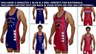 2 National wrestling singlets in red & blue includes State on leg & custom text