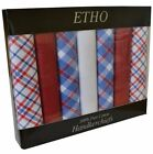 7 Pack Mens Handkerchiefs Plain Dyed CHK Printed Satin Border Assorted Colours