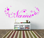 Personalised girls name sticker with stars for bedroom wall