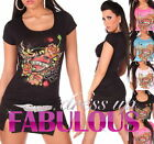SEXY WOMEN'S TOP GLITTER T-SHIRT ROSE TATTOO PRINT Size 4 6 8 10 12 14 S M L XL