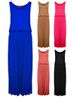 Womens Block Colour Waisted Maxi Dress Black Mocha Blue Cerise Ladies New 8-14