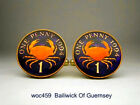 Bailiwick Of Guernsey enamelled coin cufflinks  penny crab
