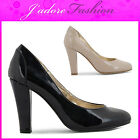 NEW LADIES HIGH HEEL BLOCK ROUND TOE PATENT FORMAL SMART SHOES SIZES UK 3-8
