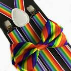 Suspender & Bow Tie Combo Set For Adults Men Women Teens Prom Formal (40 Colors)