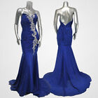Blue Mermaid Strapless Wedding Prom Gowns Ball Evening Party Cocktail Long Dress