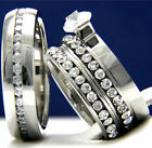 1.43 CT Solitaire CZ Engagement 316 L Stainless Steel Wedding Bridal Rings Set