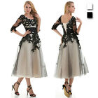 Sheer Floral Formal Wedding Bridal Evening Ball Prom Gowns Party Long Slim Dress