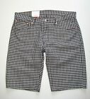 New! LEVI'S 504 Regular Fit Mens Sz Black & White Plaid Check 100% Cotton Shorts