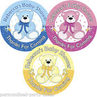 Personalised Round Baby Shower Stickers - Party Bag Favour Labels (Teddy Bear)