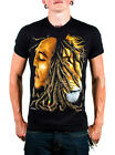 Bob Marley Profiles Black Men's Graphic T-Shirt With Marley and Lion 100% Cotton