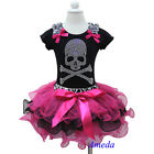 Halloween Hot Pink Black Petal Pettiskirt Skull Rhinestone Short Top Party Dress